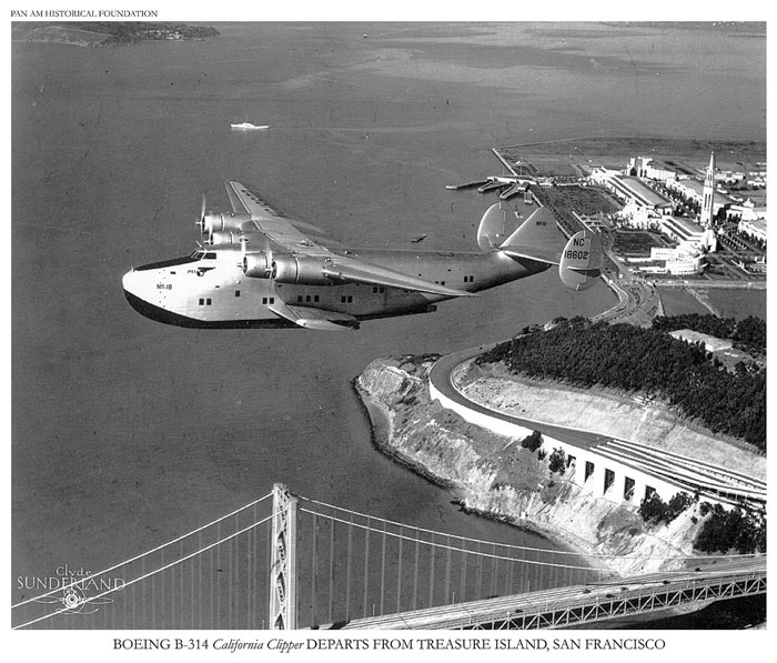 Pan Am Boeing 314 flying boat over Treasure Island