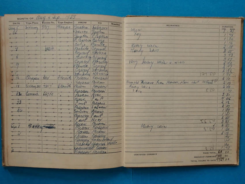 "Pan Am Pilot Leo Terletzky's Log Book, August 1933 Entry, ""Brought Ferrara from Havana, plane shot 10 times"""