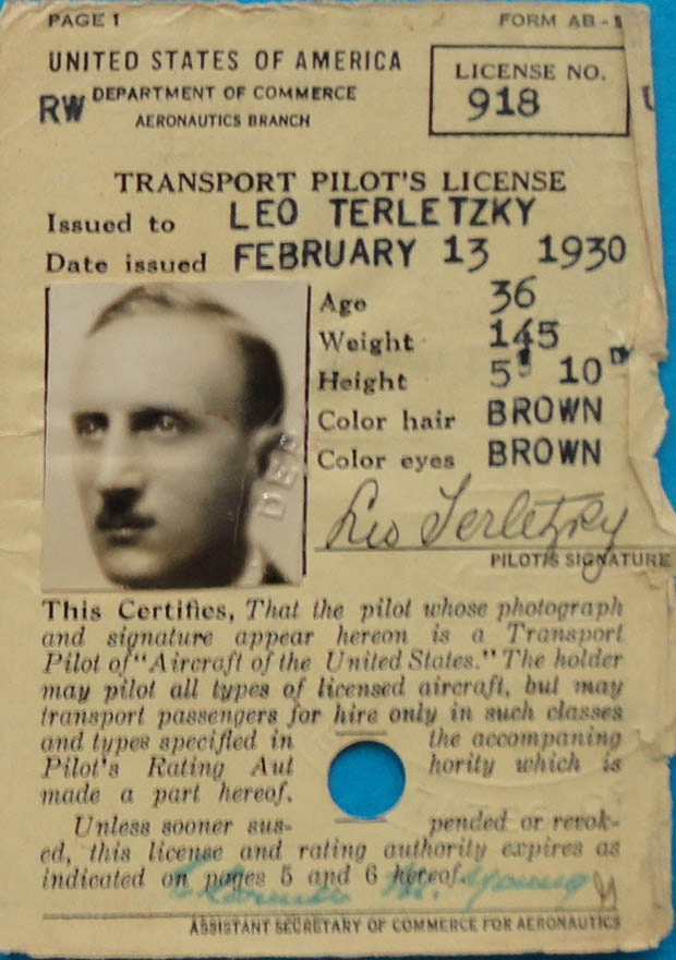 Pan Am Pilot Leo Terletzky's pilot license, 1930