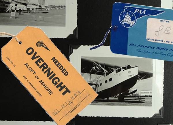 Pan Am photo album and luggage tags