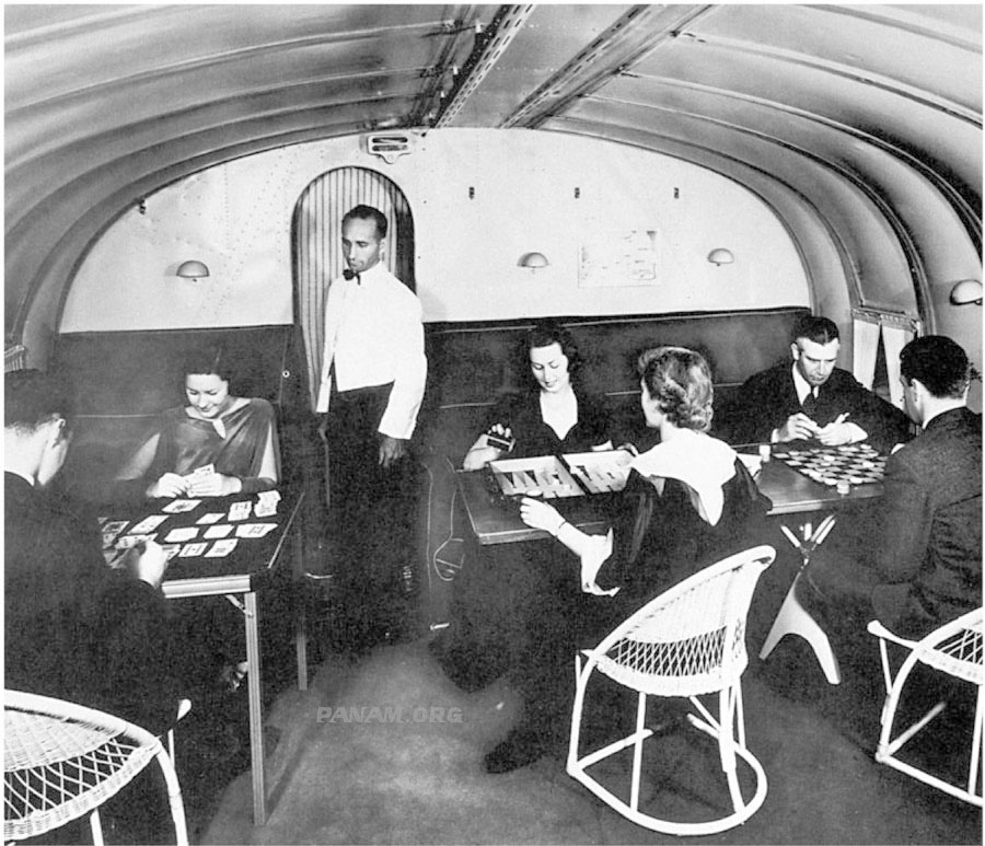 Pan Am M-130 interior with steward (PAHF archive)
