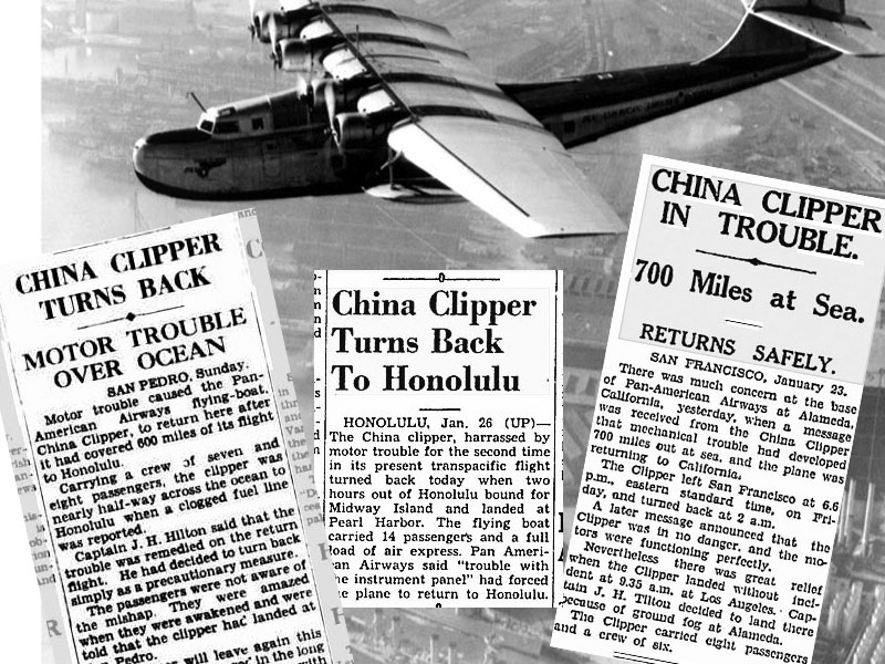 Collage China Clipper Turns Back January 1938