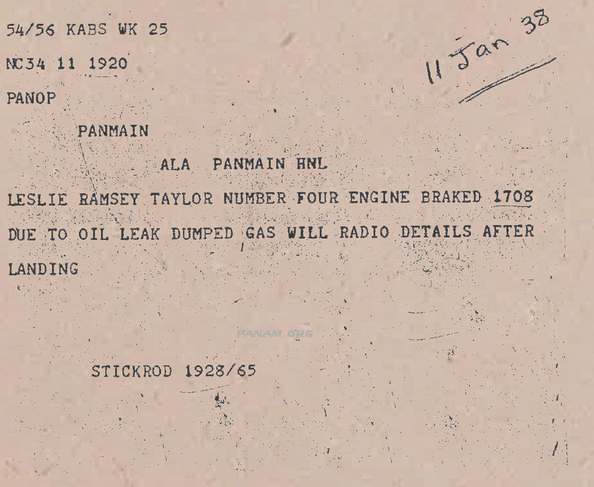 5 Dumped fuel radiogram Pan Am Historical Foundation Collection