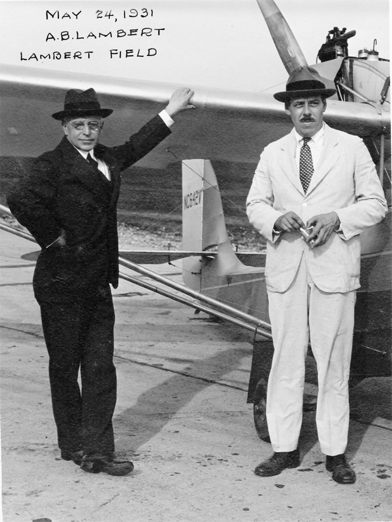 Harold Bixby with AB Lambert at Lambert Field 1931-  Bixby Family Collection