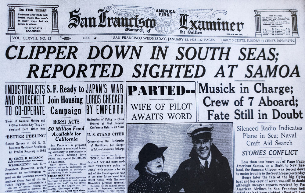 SF Examiner Headline Samoan Clipper with Musick January 12, 1938