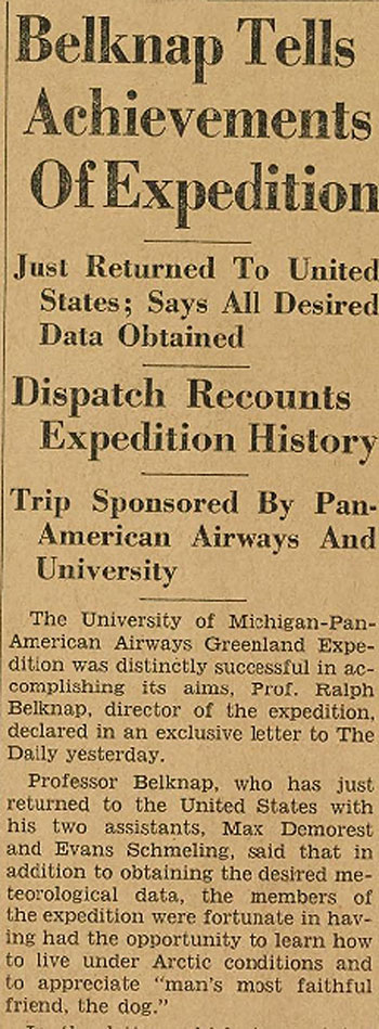 Belknap UM Pan Am Expedition The Michigan Daily 12 03 1933