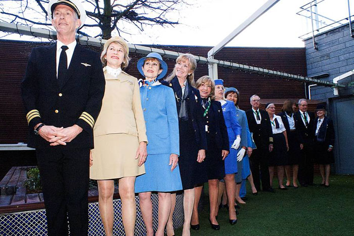 Pan Am Reunion attendees in Pan Am uniforms Foynes Flying Boat Museum 2016 Photo copyright Robert A. Genna 2016