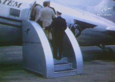 Passengers and crew boarding Pan Am DC 3 animation