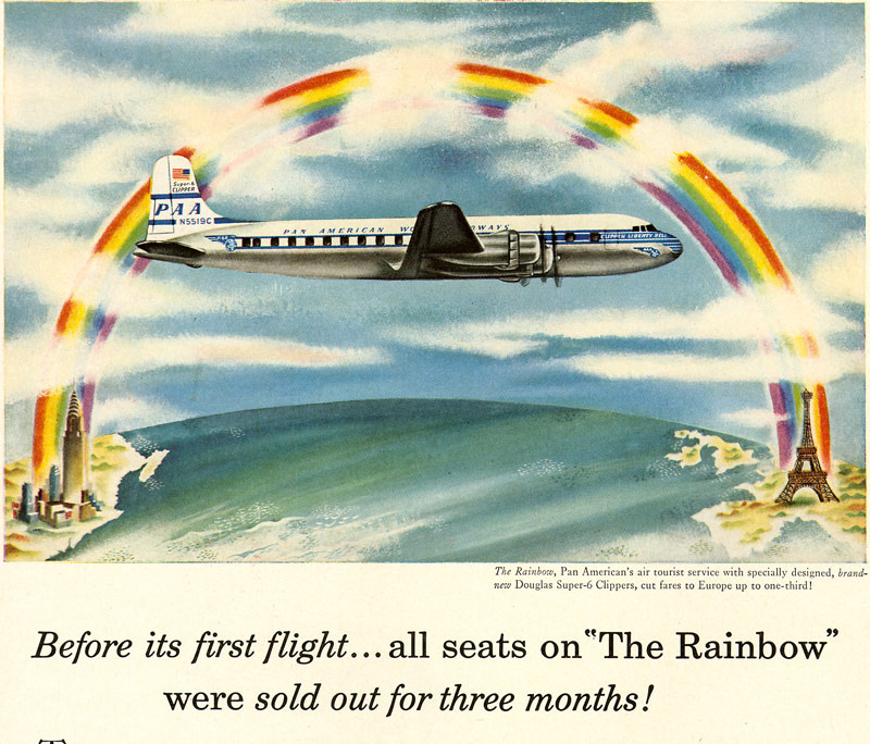 1953 Pan Am Rainbow Tourist Class Ad crop