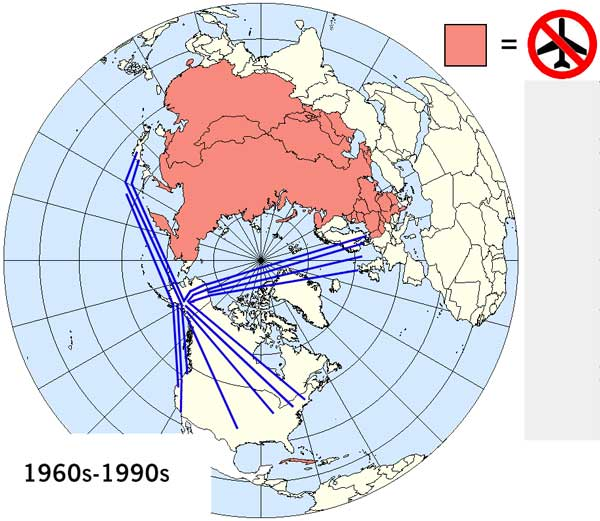Polar Routes 1960s 1990s aircraft destinations from United States
