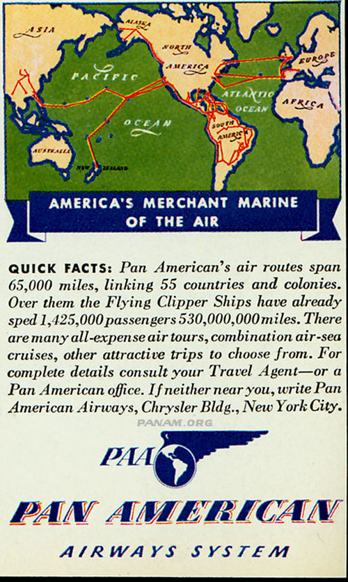 "Pan Am Ad ""Merchant Marine of the Air"" c. 1940 (PAHF Collection)"