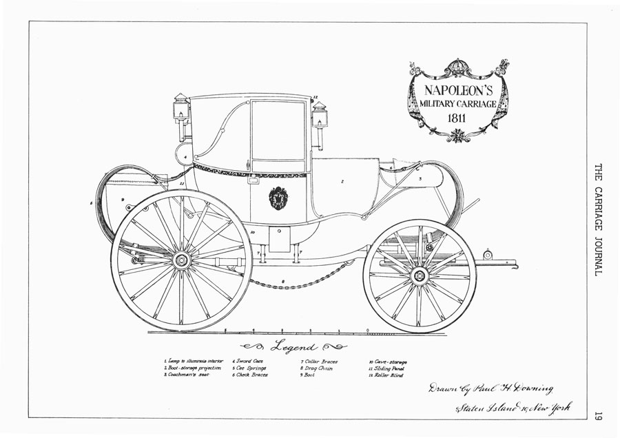 Downing sketch of Napoleon carriage
