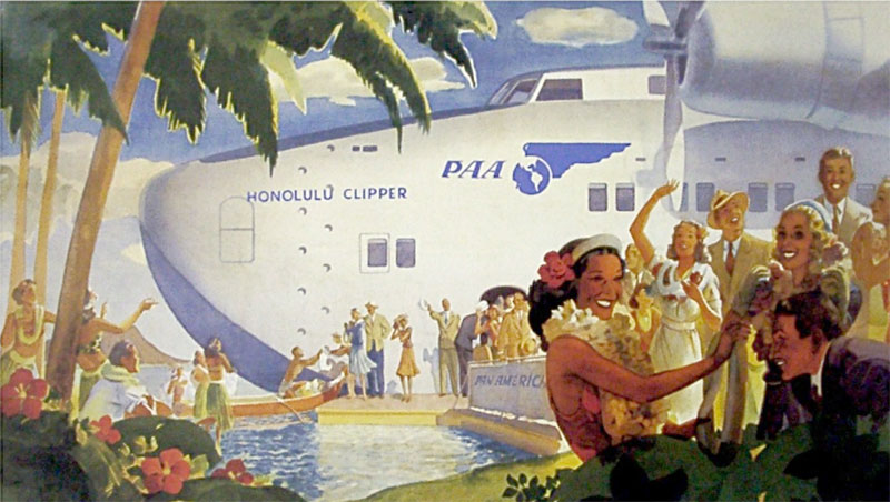 Pan Am Poster Hawaii by Flying Clipper by George Lawler