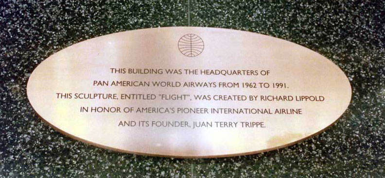 Pan Am Plaque and Lippold sculpture dedicated to Juan Trippe, Pan Am Building foyer New York City