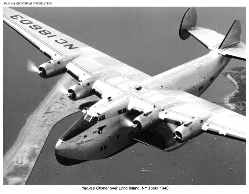 Pan Am B 314 Yankee Clipper over Long Island 1940