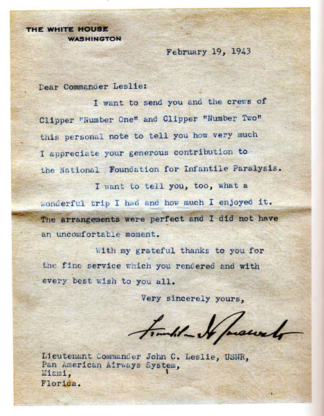 FDR thankyou note to JCL