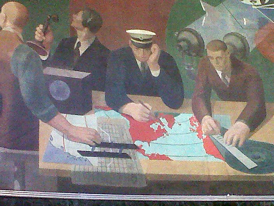 Marine Air Terminal James Brook Mural detail navigators