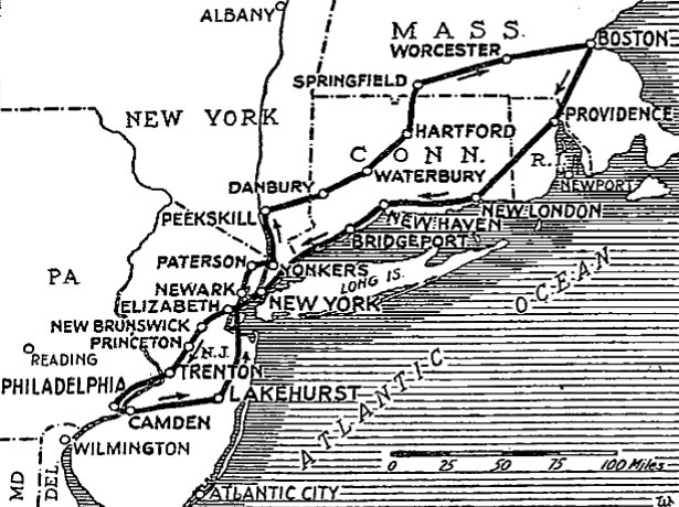 Proposed Route of Hindenburg Millionaires Flight