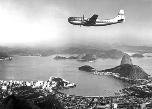 Pan Am Stratocruiser over Rio 1950s