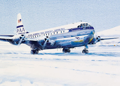 Pan Am Watercolor, Stratocruiser in Antarctica, by John T. McCoy