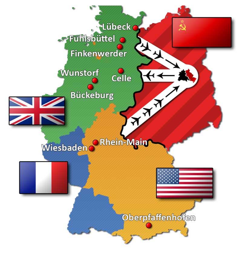 Berliner Blockade Luftwege Map