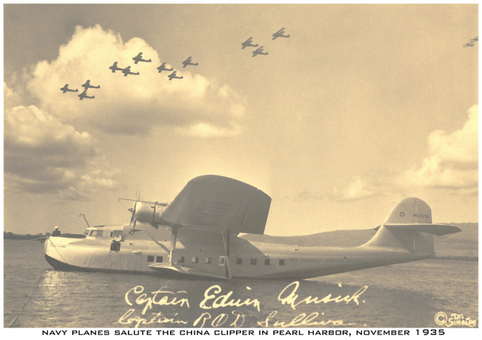 November 1935 Navy planes salute Pan Am China Clipper Pearl Harbor
