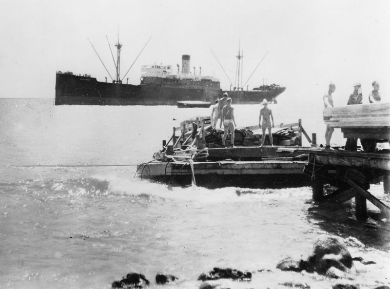 SS North Haven unloading at Wilkes Island Wake Atoll