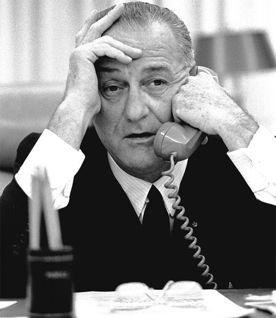 LBJ-on-phone