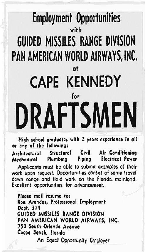 Pan Am Employment Ad for Cape Kennedy