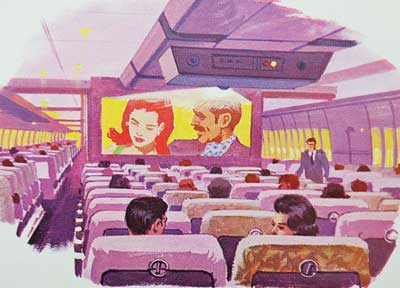 Inflight movie Pan Am 747 concept drawing 1967 blog