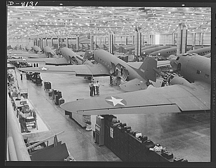 Douglas C 47 in Production Santa Monica 1942 LOC Office of War Information collection