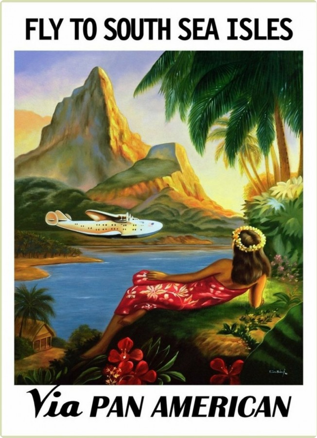 Pan Am Poster by George Lawler, Flying to South Sea Isles