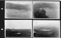 Four aerial views of the Panama Canal Zone, on a page from an early Pan Am scrapbook