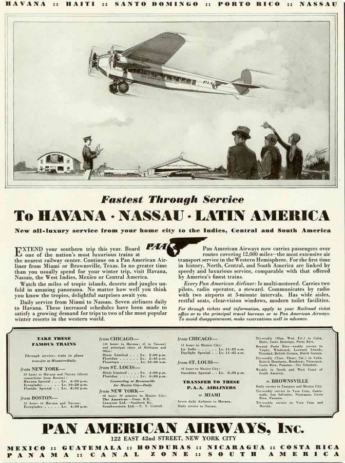 Pan Am Early Ad for Flights to Cuba