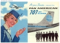 Stewardess and Pan Am Boeing 707 Jet Clipper in advertisment illustration