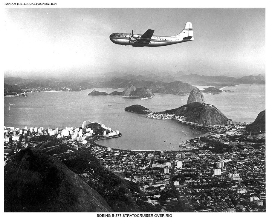 Pan Am Boeing B-377 Stratocruiser flying over Rio de Janiero, Brazil