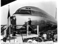 Pan Am President Juan Tripp and Mamie Eisenhower christening the first Boeing 707, October, 1958