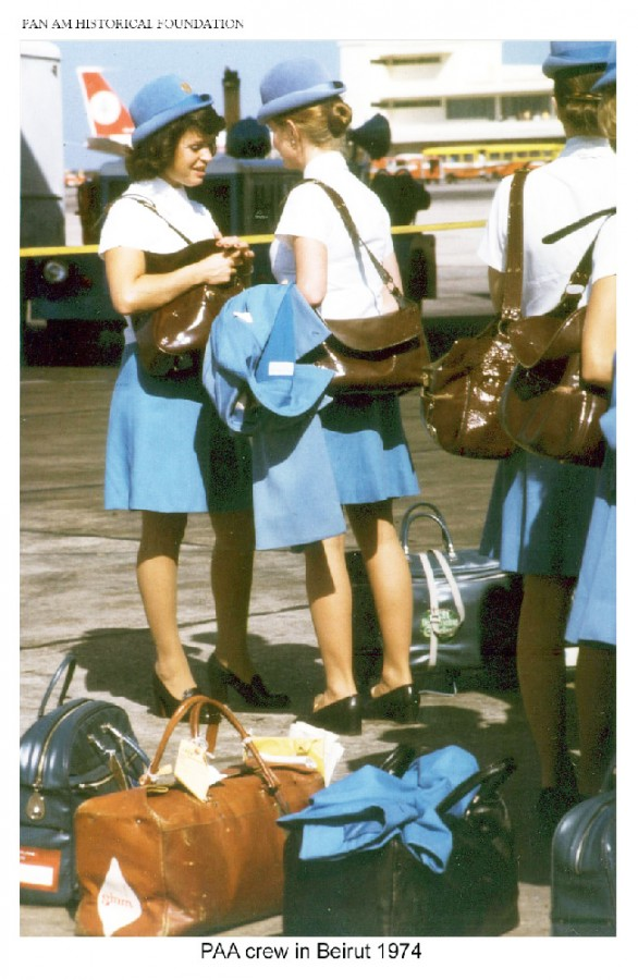 Pan Am stewardesses on the tarmac in Beirut, Lebanon, 1974