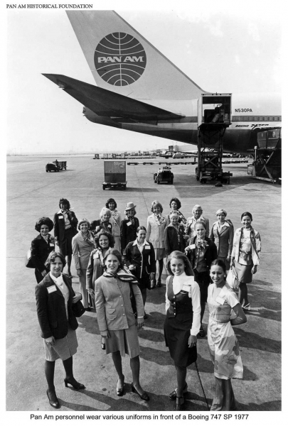 A Pan Am crew poses in front of a Boeing 747 SP