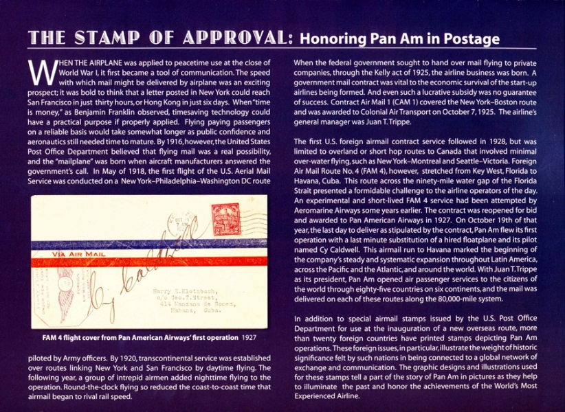 Stamp of Approval: Honoring Pan Am in Postage. Inside cover of the  2009 calendar published by Pan Am Historical Foundation