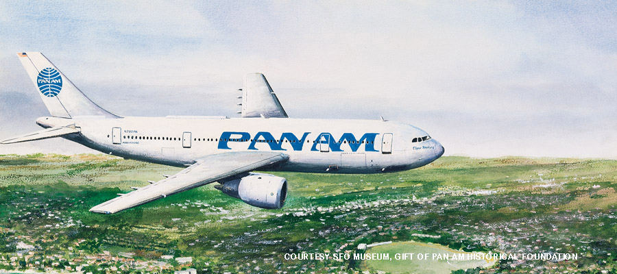 John T. McCoy Watercolor, Courtesy SFO Museum, Gift of Pan Am Historical Foundation