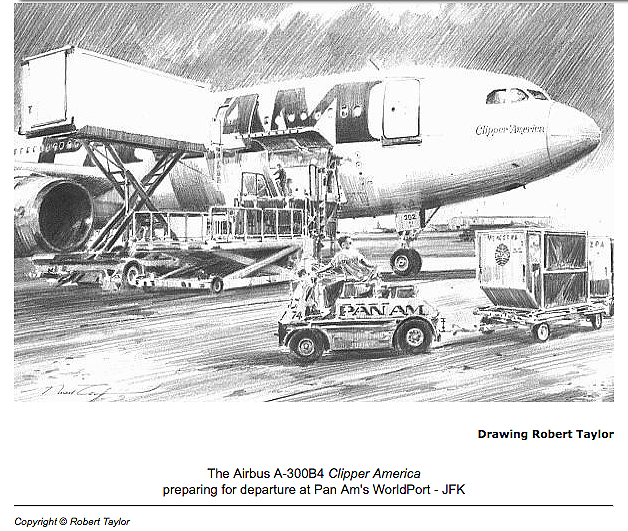 Robert Taylor sketch, Pan Am Clipper America at the Worldport, JFK