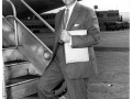 Pan Am's Juan Trippe boarding a Boeing 377 Stratocruiser, 1957