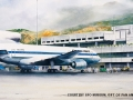 1980-Lockheed L1011-500  Watercolor by John T. McCoy from the First Flight Series: May 1, 1980  Lockheed L1011-500 Clipper National Eagle arrives in Caracas from New York on its inaugural flight. Courtesy of SFO Museum, Gift of Pan Am Historical Foundatio