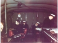 Boeing B-314 flight deck and crew, Pan American World Airways color photo