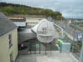 Tail of Pan Am Boeing 314 flying boat at entrance of Foynes Museum