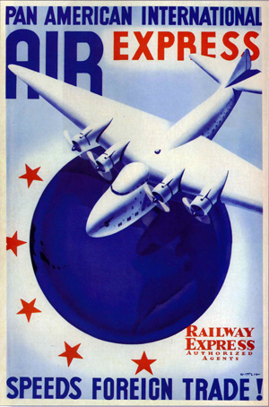 Pan American International Air Express poster, 1938