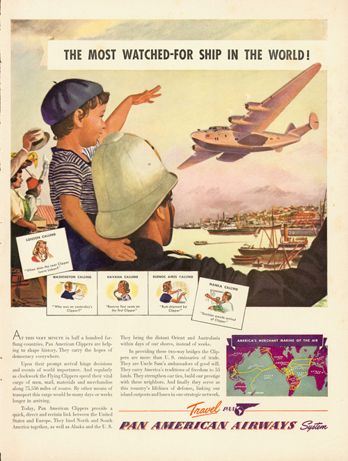 Pan Am ad, 1939, Most Watched-For ship in the world