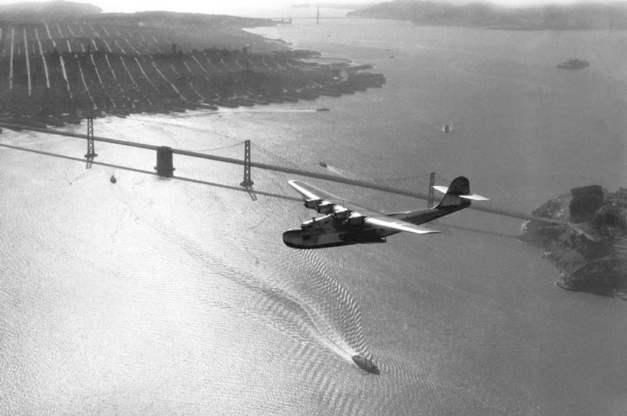 Clyde Sunderland photo of M-130 over San Francisco Bay