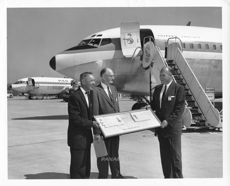 John Borger (right) accepting the keys to 707 Clipper Tradewind